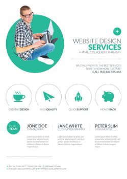 Minimal Web Design psd flyer template