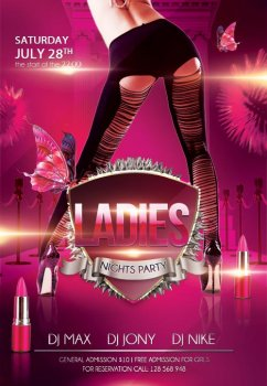 Ladies Nights Party psd flyer template