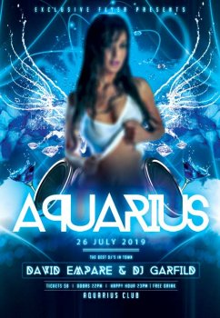 Aquarius night psd flyer template